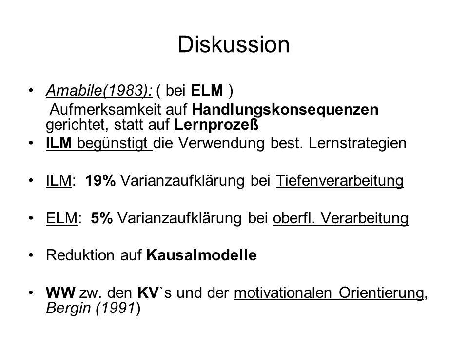 Diskussion Amabile(1983): ( bei ELM ) Aufmerksamkeit auf Handlungskonsequenzen gerichtet, statt auf Lernprozeß ILM begünstigt die Verwendung best. Ler