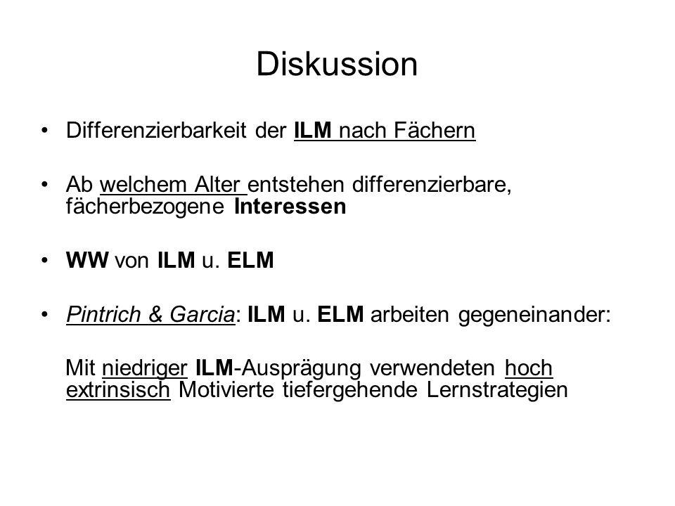 Diskussion Differenzierbarkeit der ILM nach Fächern Ab welchem Alter entstehen differenzierbare, fächerbezogene Interessen WW von ILM u. ELM Pintrich