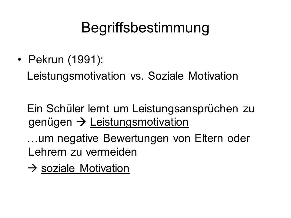 Begriffsbestimmung Pekrun (1991): Leistungsmotivation vs. Soziale Motivation Ein Schüler lernt um Leistungsansprüchen zu genügen Leistungsmotivation …