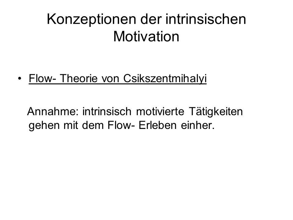 Konzeptionen der intrinsischen Motivation Flow- Theorie von Csikszentmihalyi Annahme: intrinsisch motivierte Tätigkeiten gehen mit dem Flow- Erleben e
