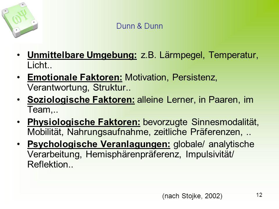 12 Dunn & Dunn Unmittelbare Umgebung: z.B. Lärmpegel, Temperatur, Licht.. Emotionale Faktoren: Motivation, Persistenz, Verantwortung, Struktur.. Sozio