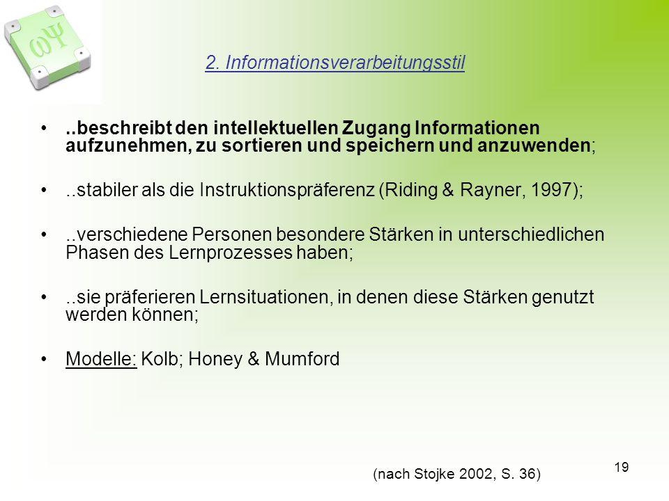 19 2. Informationsverarbeitungsstil..beschreibt den intellektuellen Zugang Informationen aufzunehmen, zu sortieren und speichern und anzuwenden;..stab