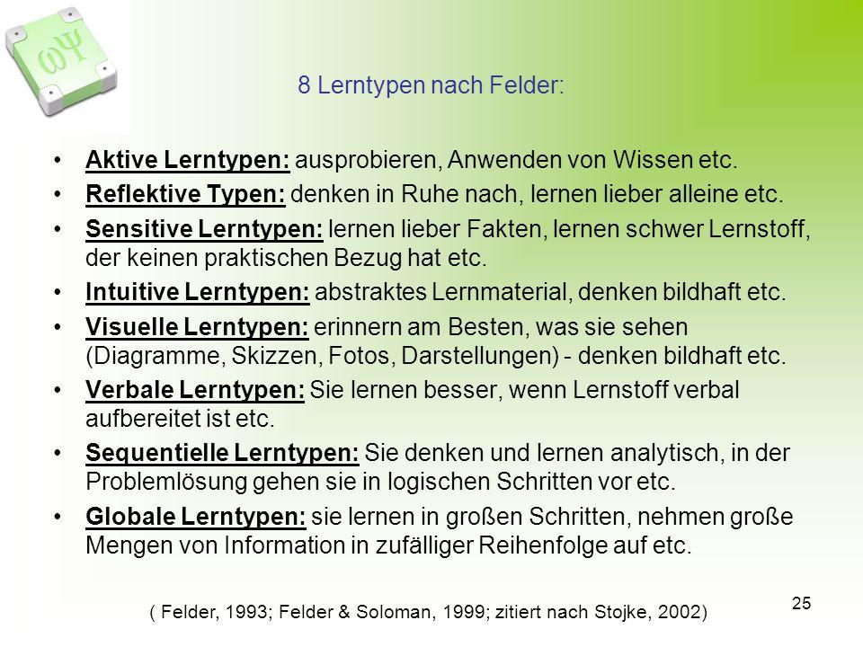25 8 Lerntypen nach Felder: Aktive Lerntypen: ausprobieren, Anwenden von Wissen etc. Reflektive Typen: denken in Ruhe nach, lernen lieber alleine etc.