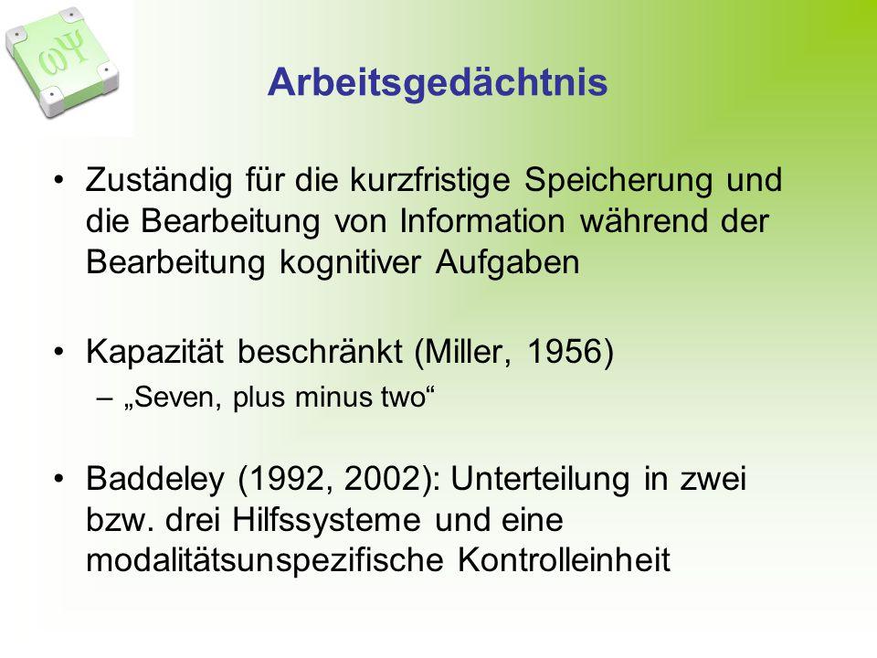 Arbeitsgedächtnis Zuständig für die kurzfristige Speicherung und die Bearbeitung von Information während der Bearbeitung kognitiver Aufgaben Kapazität beschränkt (Miller, 1956) –Seven, plus minus two Baddeley (1992, 2002): Unterteilung in zwei bzw.
