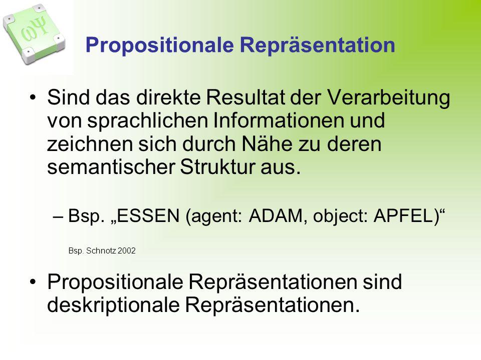 Propositionale Repräsentation Sind das direkte Resultat der Verarbeitung von sprachlichen Informationen und zeichnen sich durch Nähe zu deren semantischer Struktur aus.