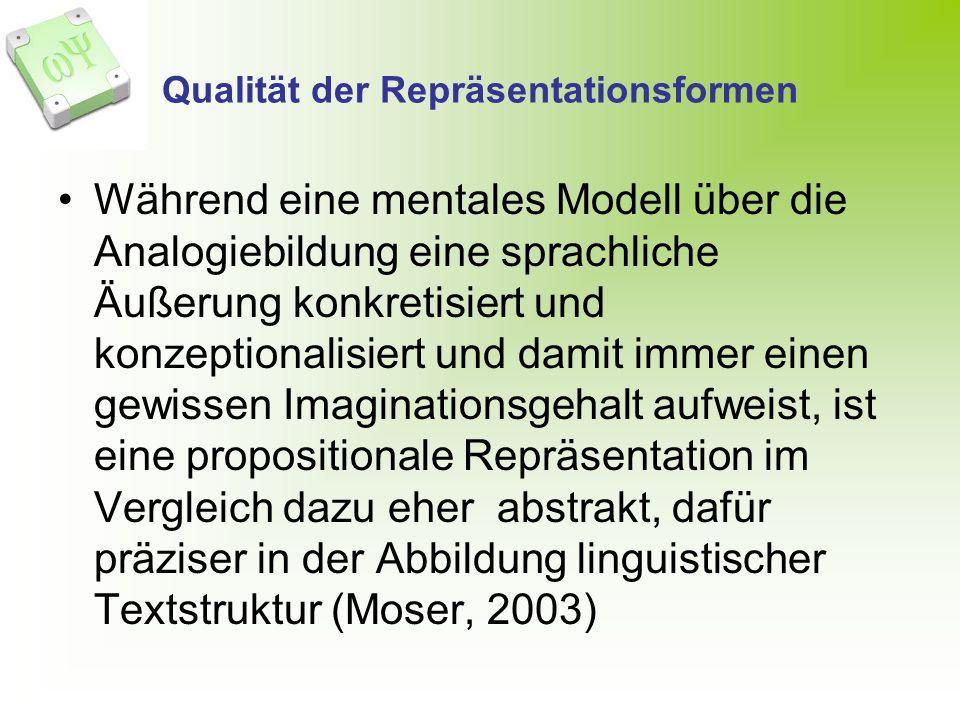 Qualität der Repräsentationsformen Während eine mentales Modell über die Analogiebildung eine sprachliche Äußerung konkretisiert und konzeptionalisiert und damit immer einen gewissen Imaginationsgehalt aufweist, ist eine propositionale Repräsentation im Vergleich dazu eher abstrakt, dafür präziser in der Abbildung linguistischer Textstruktur (Moser, 2003)