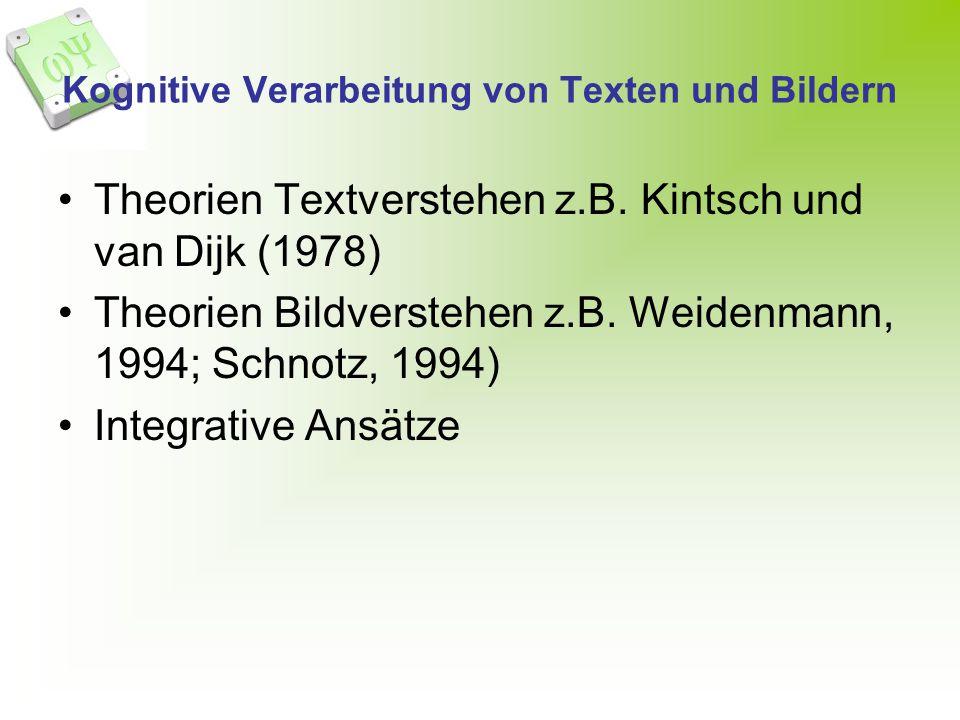 Kognitive Verarbeitung von Texten und Bildern Theorien Textverstehen z.B. Kintsch und van Dijk (1978) Theorien Bildverstehen z.B. Weidenmann, 1994; Sc