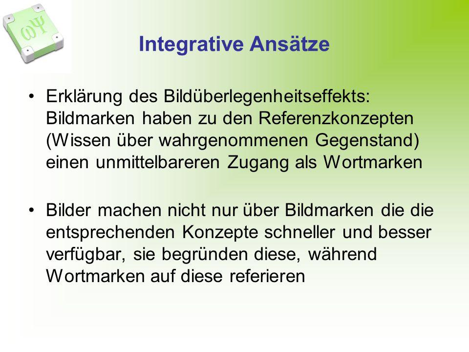 Integrative Ansätze Erklärung des Bildüberlegenheitseffekts: Bildmarken haben zu den Referenzkonzepten (Wissen über wahrgenommenen Gegenstand) einen u