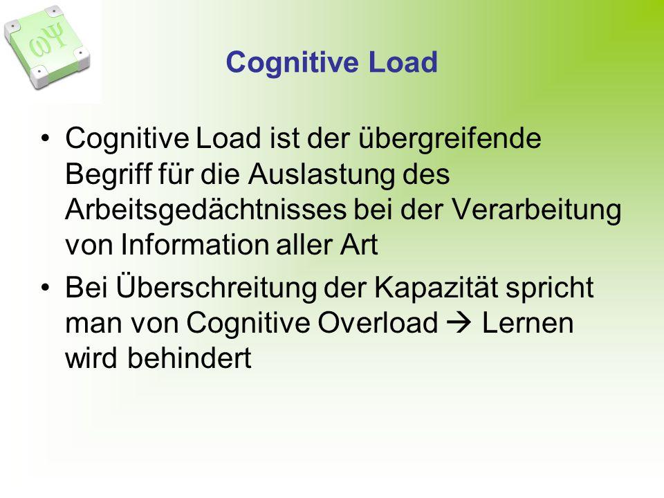 Cognitive Load Cognitive Load ist der übergreifende Begriff für die Auslastung des Arbeitsgedächtnisses bei der Verarbeitung von Information aller Art Bei Überschreitung der Kapazität spricht man von Cognitive Overload Lernen wird behindert