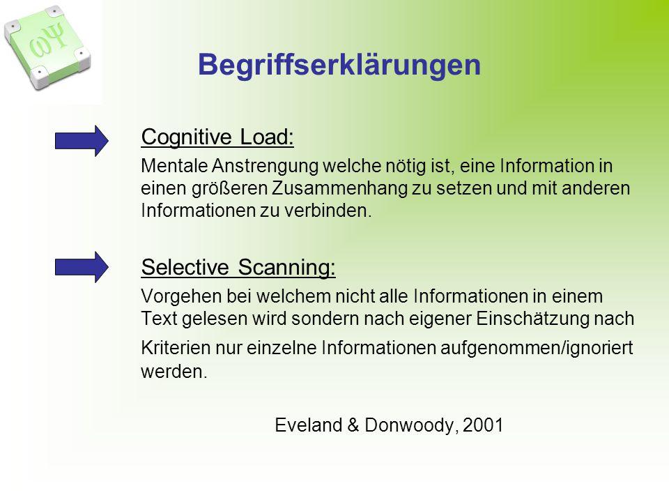 Begriffserklärungen Cognitive Load: Mentale Anstrengung welche nötig ist, eine Information in einen größeren Zusammenhang zu setzen und mit anderen Informationen zu verbinden.