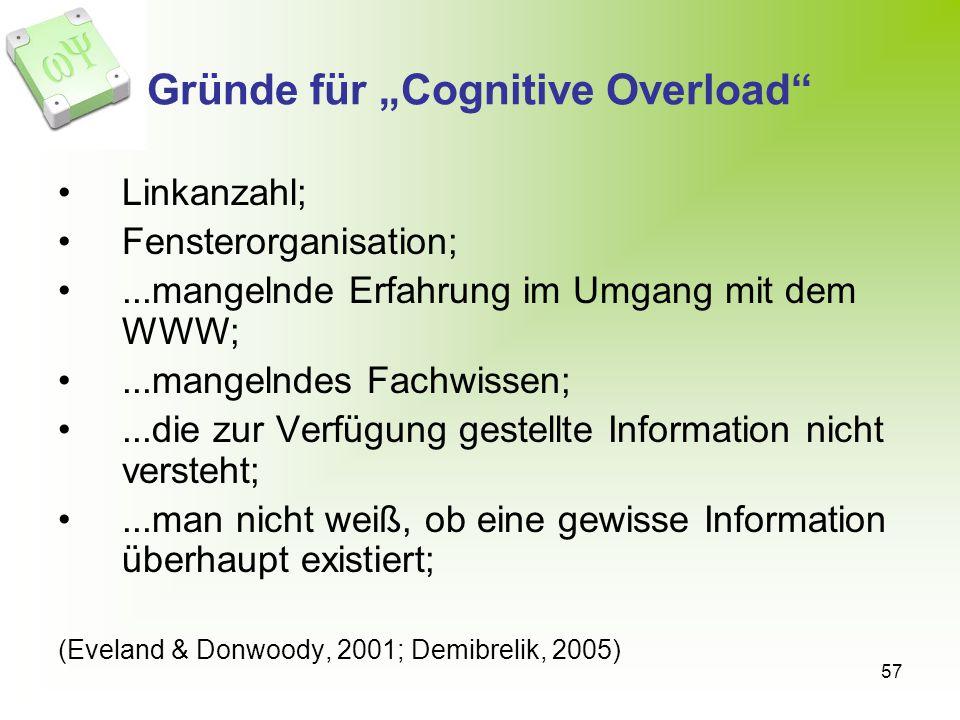 57 Gründe für Cognitive Overload Linkanzahl; Fensterorganisation;...mangelnde Erfahrung im Umgang mit dem WWW;...mangelndes Fachwissen;...die zur Verfügung gestellte Information nicht versteht;...man nicht weiß, ob eine gewisse Information überhaupt existiert; (Eveland & Donwoody, 2001; Demibrelik, 2005)