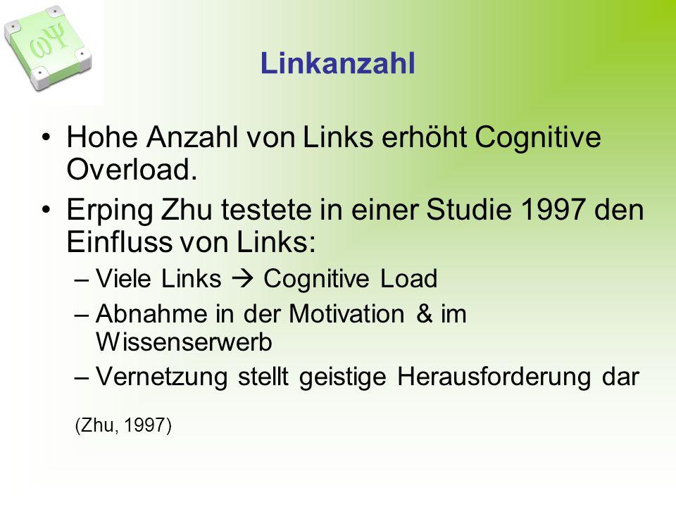 Linkanzahl Hohe Anzahl von Links erhöht Cognitive Overload. Erping Zhu testete in einer Studie 1997 den Einfluss von Links: –Viele Links Cognitive Loa
