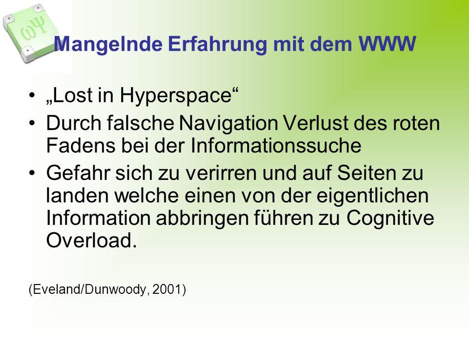 Mangelnde Erfahrung mit dem WWW Lost in Hyperspace Durch falsche Navigation Verlust des roten Fadens bei der Informationssuche Gefahr sich zu verirren und auf Seiten zu landen welche einen von der eigentlichen Information abbringen führen zu Cognitive Overload.