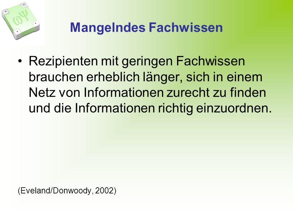 Mangelndes Fachwissen Rezipienten mit geringen Fachwissen brauchen erheblich länger, sich in einem Netz von Informationen zurecht zu finden und die Informationen richtig einzuordnen.