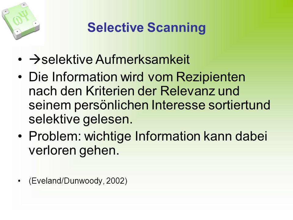 Selective Scanning selektive Aufmerksamkeit Die Information wird vom Rezipienten nach den Kriterien der Relevanz und seinem persönlichen Interesse sortiertund selektive gelesen.
