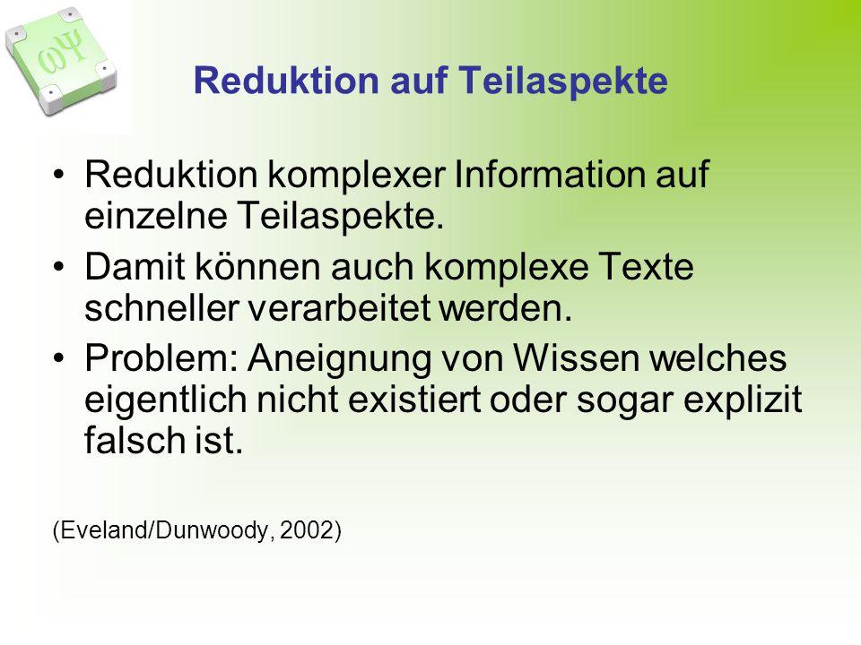 Reduktion auf Teilaspekte Reduktion komplexer Information auf einzelne Teilaspekte. Damit können auch komplexe Texte schneller verarbeitet werden. Pro