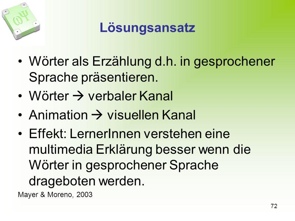 72 Lösungsansatz Wörter als Erzählung d.h.in gesprochener Sprache präsentieren.
