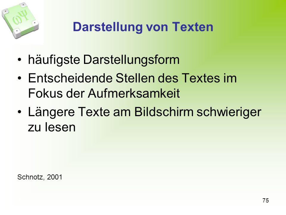 75 Darstellung von Texten häufigste Darstellungsform Entscheidende Stellen des Textes im Fokus der Aufmerksamkeit Längere Texte am Bildschirm schwieriger zu lesen Schnotz, 2001