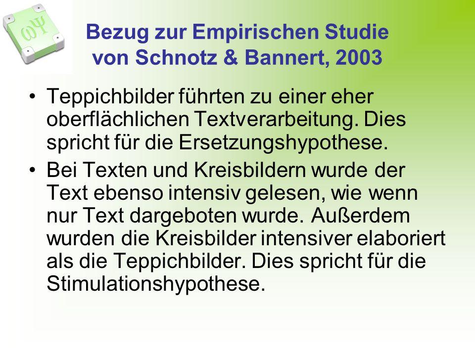 Bezug zur Empirischen Studie von Schnotz & Bannert, 2003 Teppichbilder führten zu einer eher oberflächlichen Textverarbeitung. Dies spricht für die Er