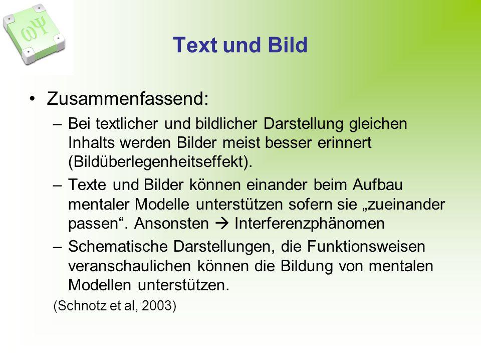 Text und Bild Zusammenfassend: –Bei textlicher und bildlicher Darstellung gleichen Inhalts werden Bilder meist besser erinnert (Bildüberlegenheitseffekt).