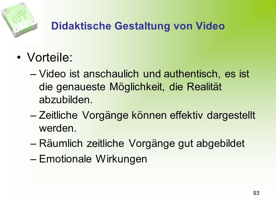 93 Didaktische Gestaltung von Video Vorteile: –Video ist anschaulich und authentisch, es ist die genaueste Möglichkeit, die Realität abzubilden. –Zeit