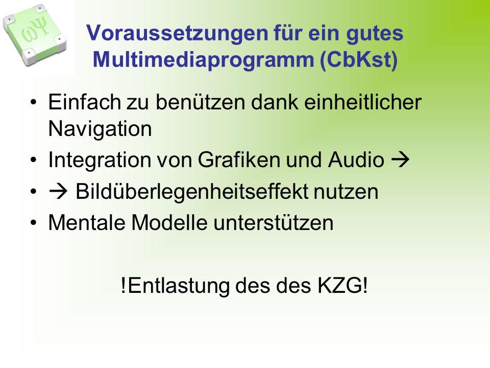 Voraussetzungen für ein gutes Multimediaprogramm (CbKst) Einfach zu benützen dank einheitlicher Navigation Integration von Grafiken und Audio Bildüberlegenheitseffekt nutzen Mentale Modelle unterstützen !Entlastung des des KZG!