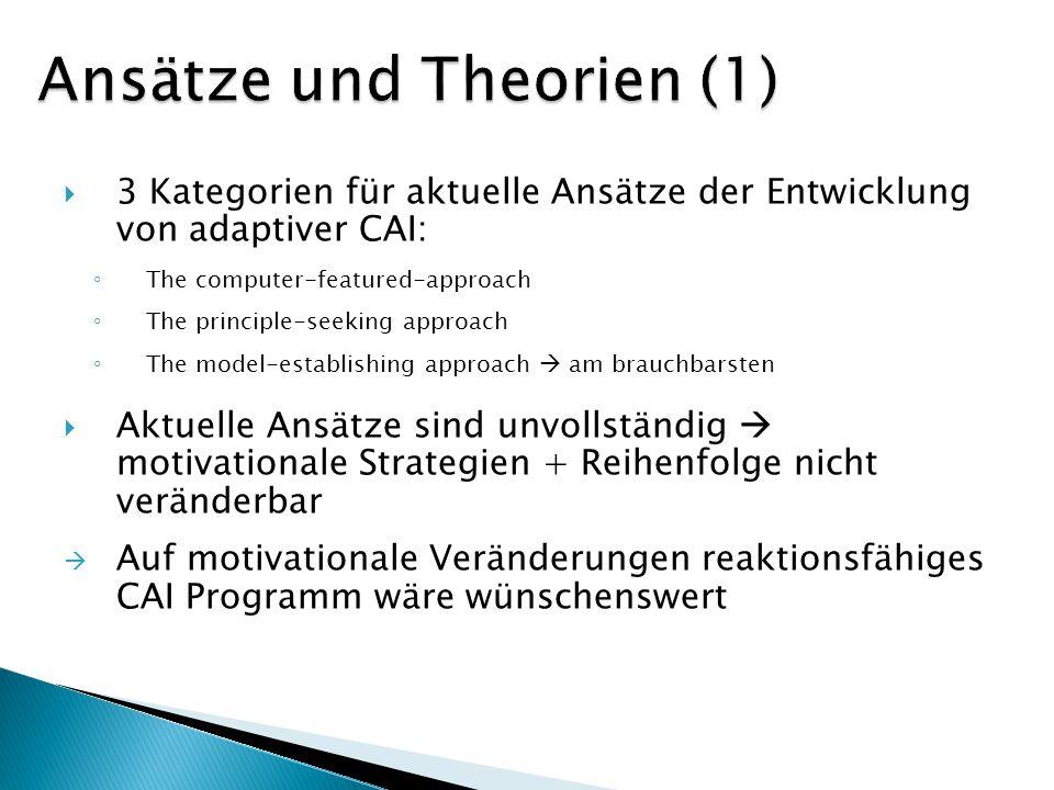 3 Kategorien für aktuelle Ansätze der Entwicklung von adaptiver CAI: The computer-featured-approach The principle-seeking approach The model-establish