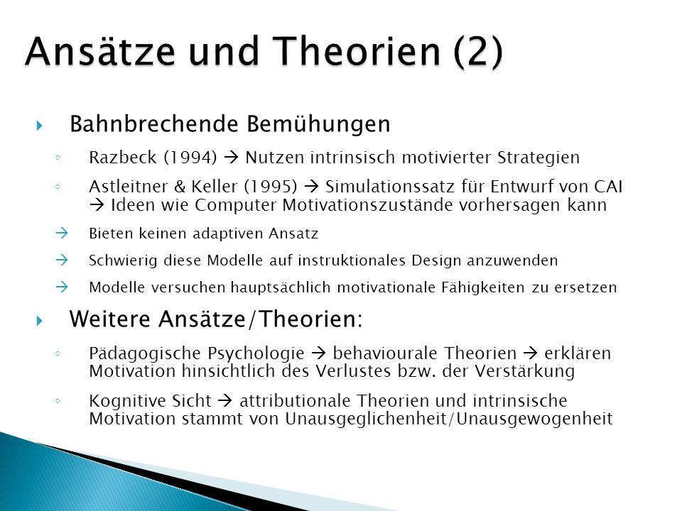 Bahnbrechende Bemühungen Razbeck (1994) Nutzen intrinsisch motivierter Strategien Astleitner & Keller (1995) Simulationssatz für Entwurf von CAI Ideen