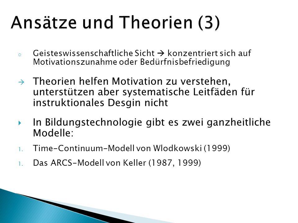 o Geisteswissenschaftliche Sicht konzentriert sich auf Motivationszunahme oder Bedürfnisbefriedigung Theorien helfen Motivation zu verstehen, unterstü