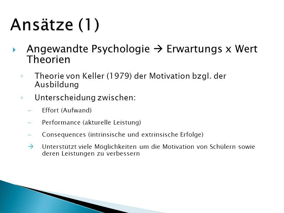 Angewandte Psychologie Erwartungs x Wert Theorien Theorie von Keller (1979) der Motivation bzgl. der Ausbildung Unterscheidung zwischen: Effort (Aufwa