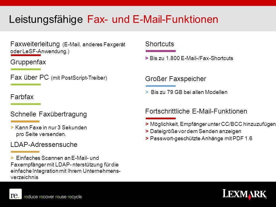 Faxweiterleitung (E-Mail, anderes Faxgerät oder LeSF-Anwendung.) Schnelle Faxübertragung > Kann Faxe in nur 3 Sekunden pro Seite versenden. Gruppenfax