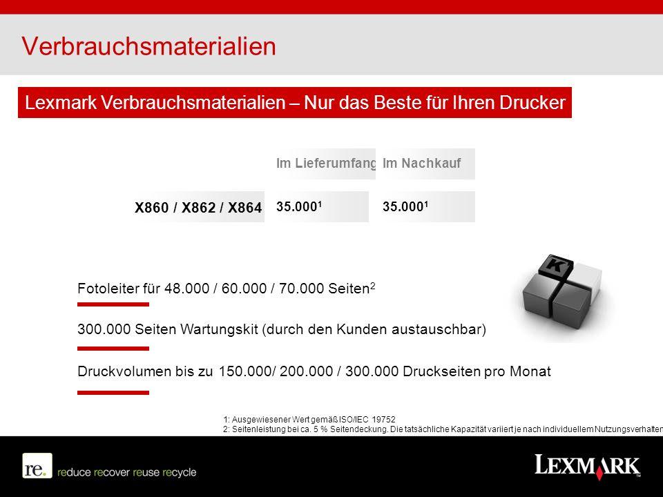 Verbrauchsmaterialien Im LieferumfangIm Nachkauf 35.000 1 X860 / X862 / X864 300.000 Seiten Wartungskit (durch den Kunden austauschbar) Druckvolumen b