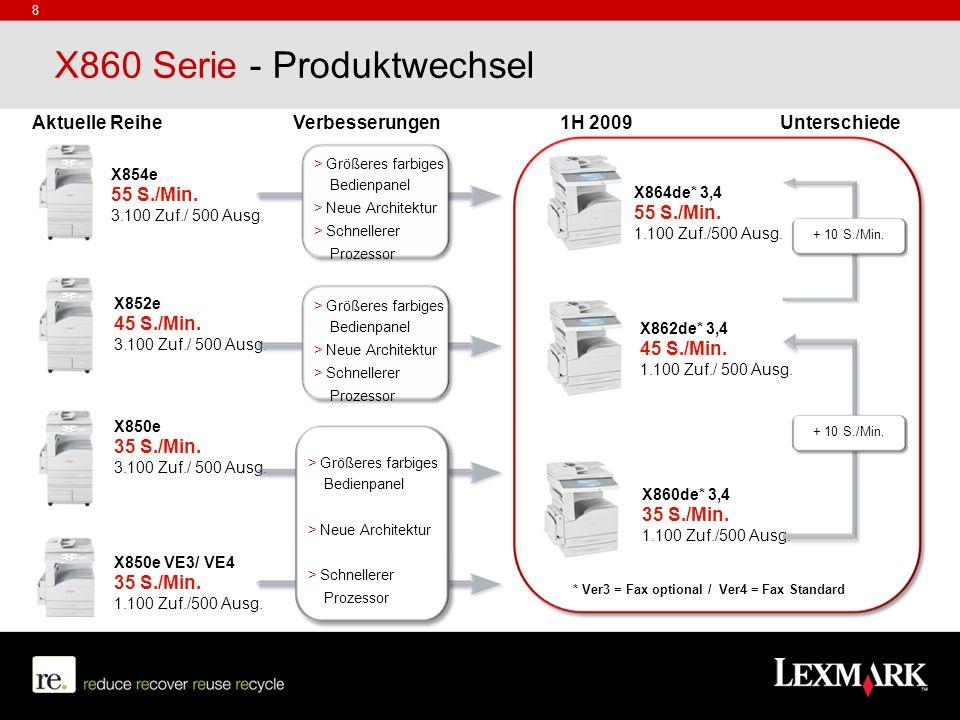 8 X860 Serie - Produktwechsel Aktuelle Reihe X852e 45 S./Min. 3.100 Zuf./ 500 Ausg. 1H 2009 X864de* 3,4 55 S./Min. 1.100 Zuf./500 Ausg. Unterschiede X