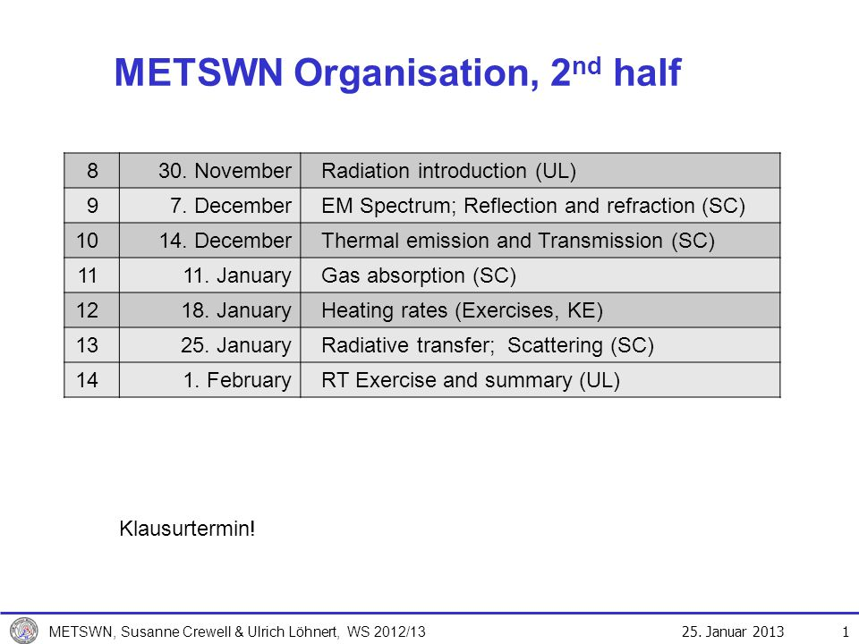25. Januar 2013 METSWN, Susanne Crewell & Ulrich Löhnert, WS 2012/13 METSWN Organisation, 2 nd half 1 830. NovemberRadiation introduction (UL) 97. Dec