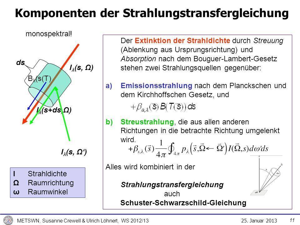 25. Januar 2013 METSWN, Susanne Crewell & Ulrich Löhnert, WS 2012/13 Komponenten der Strahlungstransfergleichung ds I λ (s, Ω) I λ (s+ds,Ω) I λ (s, Ω)