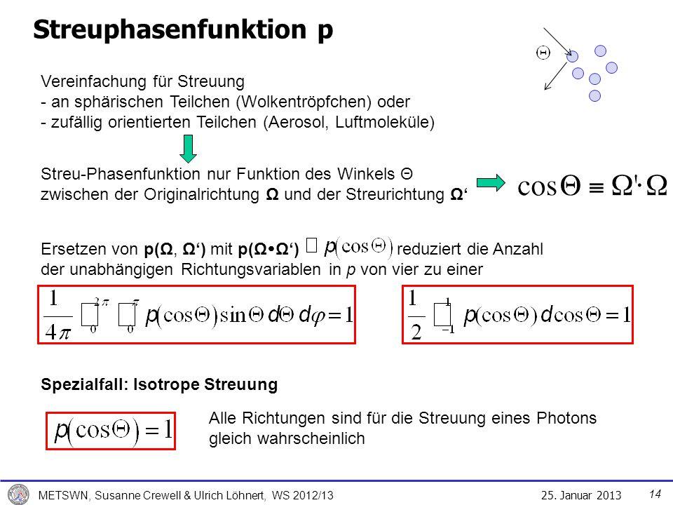 25. Januar 2013 METSWN, Susanne Crewell & Ulrich Löhnert, WS 2012/13 Streuphasenfunktion p Vereinfachung für Streuung - an sphärischen Teilchen (Wolke