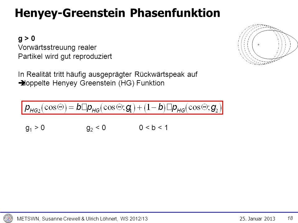 25. Januar 2013 METSWN, Susanne Crewell & Ulrich Löhnert, WS 2012/13 Henyey-Greenstein Phasenfunktion g 1 > 0 g 2 < 0 0 < b < 1 g > 0 Vorwärtsstreuung