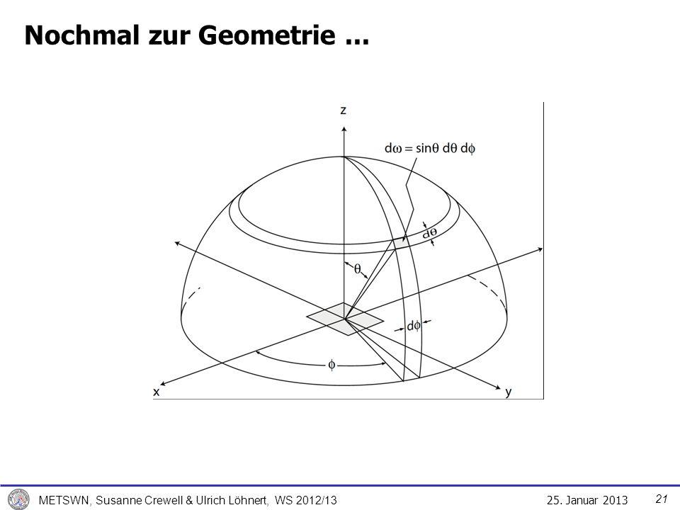 25. Januar 2013 METSWN, Susanne Crewell & Ulrich Löhnert, WS 2012/13 Nochmal zur Geometrie... 21