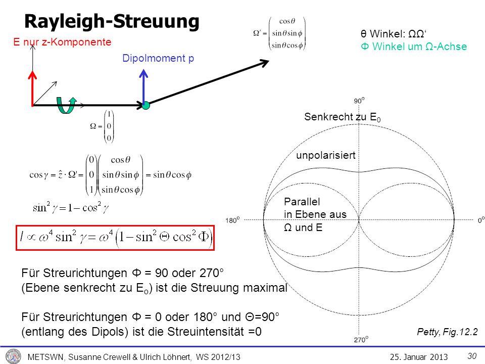 25. Januar 2013 METSWN, Susanne Crewell & Ulrich Löhnert, WS 2012/13 Rayleigh-Streuung Petty, Fig.12.2 Für Streurichtungen Φ = 90 oder 270° (Ebene sen
