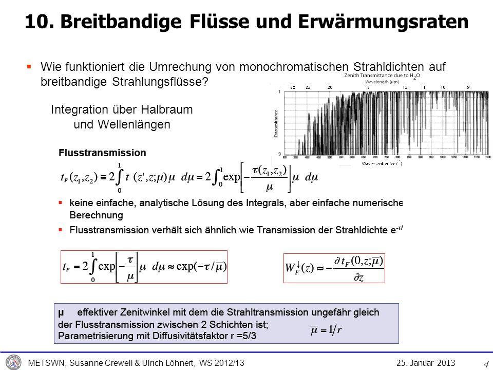 25. Januar 2013 METSWN, Susanne Crewell & Ulrich Löhnert, WS 2012/13 10. Breitbandige Flüsse und Erwärmungsraten Wie funktioniert die Umrechung von mo