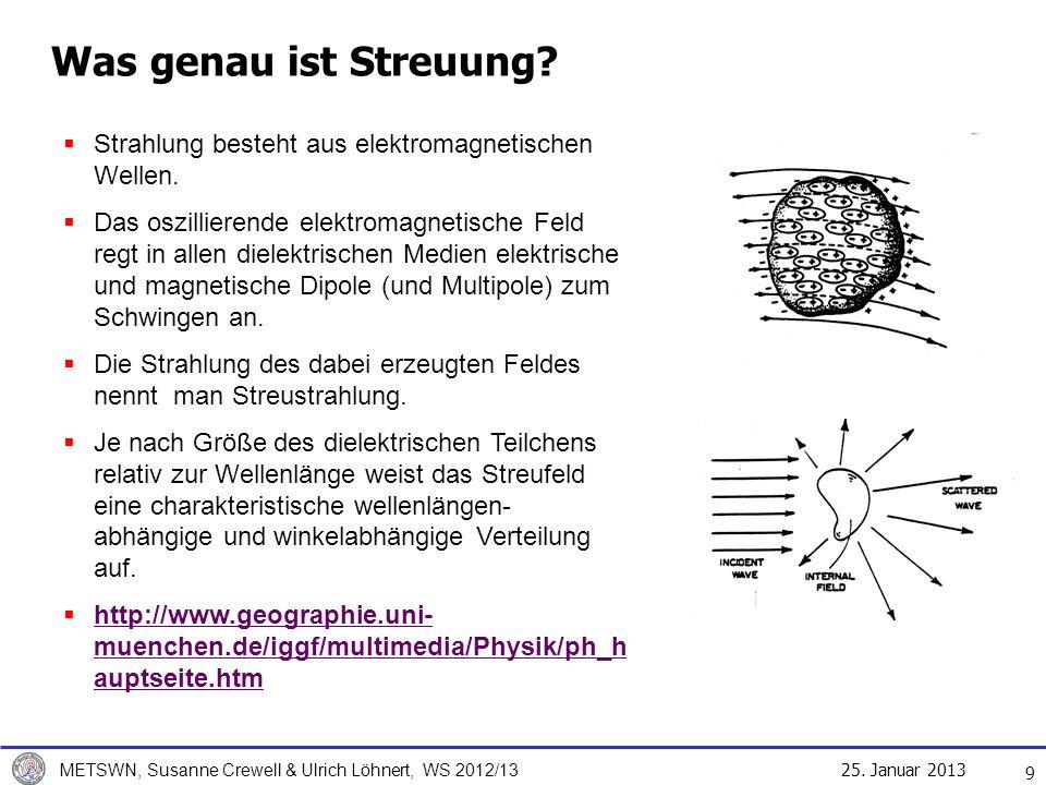 25. Januar 2013 METSWN, Susanne Crewell & Ulrich Löhnert, WS 2012/13 Was genau ist Streuung? Strahlung besteht aus elektromagnetischen Wellen. Das osz
