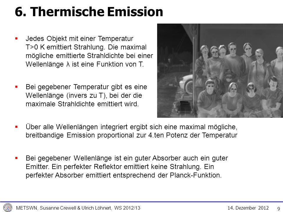 14.Dezember 2012 METSWN, Susanne Crewell & Ulrich Löhnert, WS 2012/13 6.