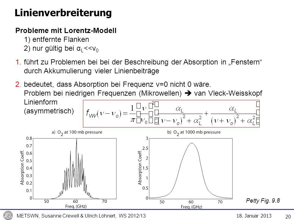 18. Januar 2013 METSWN, Susanne Crewell & Ulrich Löhnert, WS 2012/13 Linienverbreiterung 20 Probleme mit Lorentz-Modell 1) entfernte Flanken 2) nur gü