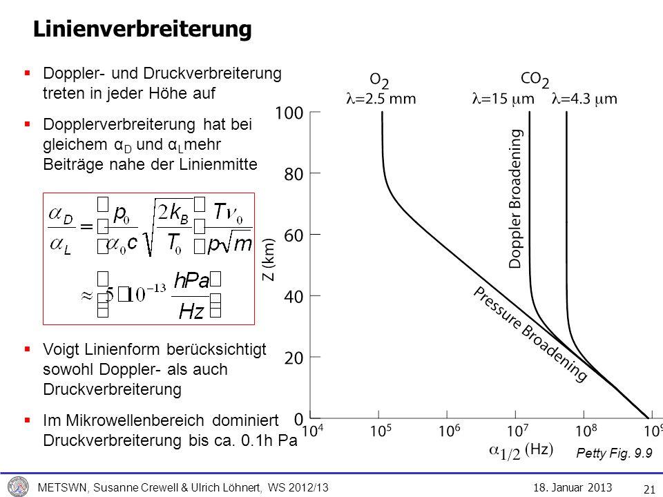 18. Januar 2013 METSWN, Susanne Crewell & Ulrich Löhnert, WS 2012/13 Linienverbreiterung 21 Doppler- und Druckverbreiterung treten in jeder Höhe auf D