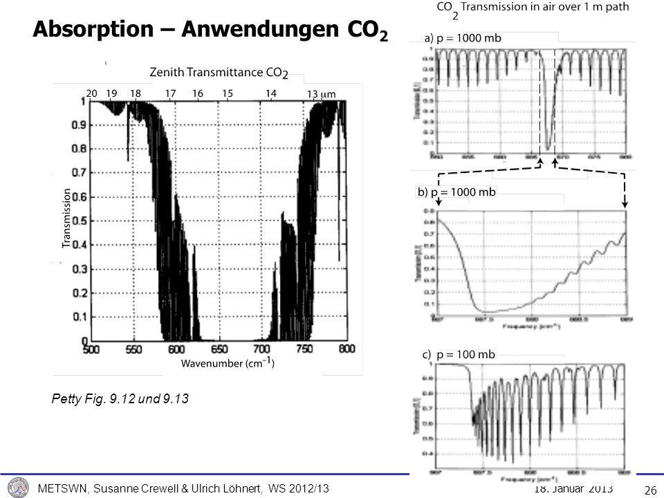 18. Januar 2013 METSWN, Susanne Crewell & Ulrich Löhnert, WS 2012/13 Absorption – Anwendungen CO 2 26 Petty Fig. 9.12 und 9.13