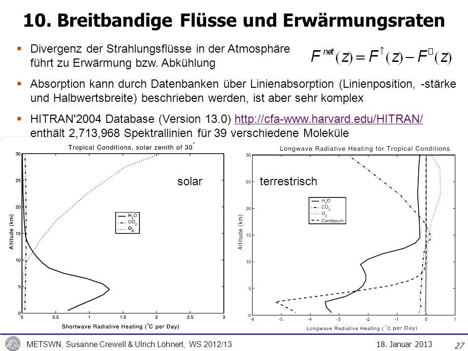 18. Januar 2013 METSWN, Susanne Crewell & Ulrich Löhnert, WS 2012/13 10. Breitbandige Flüsse und Erwärmungsraten solar terrestrisch Divergenz der Stra