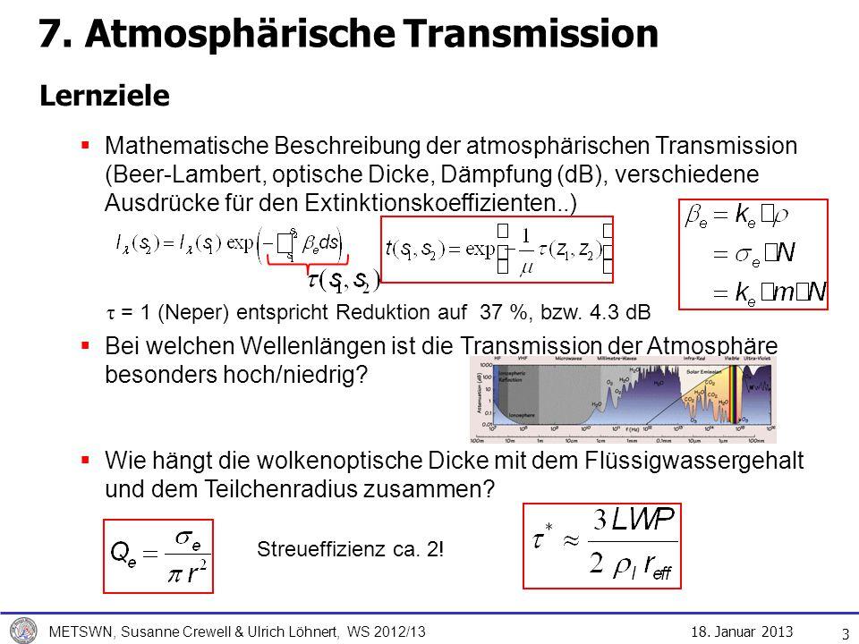 18. Januar 2013 METSWN, Susanne Crewell & Ulrich Löhnert, WS 2012/13 Lernziele 3 Mathematische Beschreibung der atmosphärischen Transmission (Beer-Lam