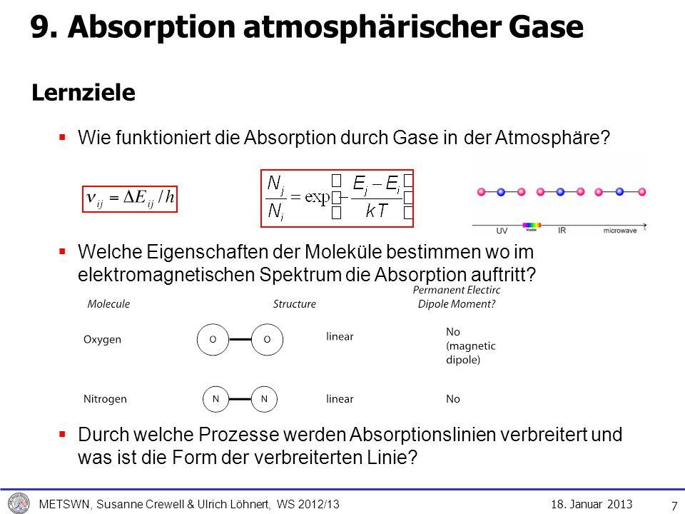 18. Januar 2013 METSWN, Susanne Crewell & Ulrich Löhnert, WS 2012/13 Lernziele 7 Wie funktioniert die Absorption durch Gase in der Atmosphäre? Welche