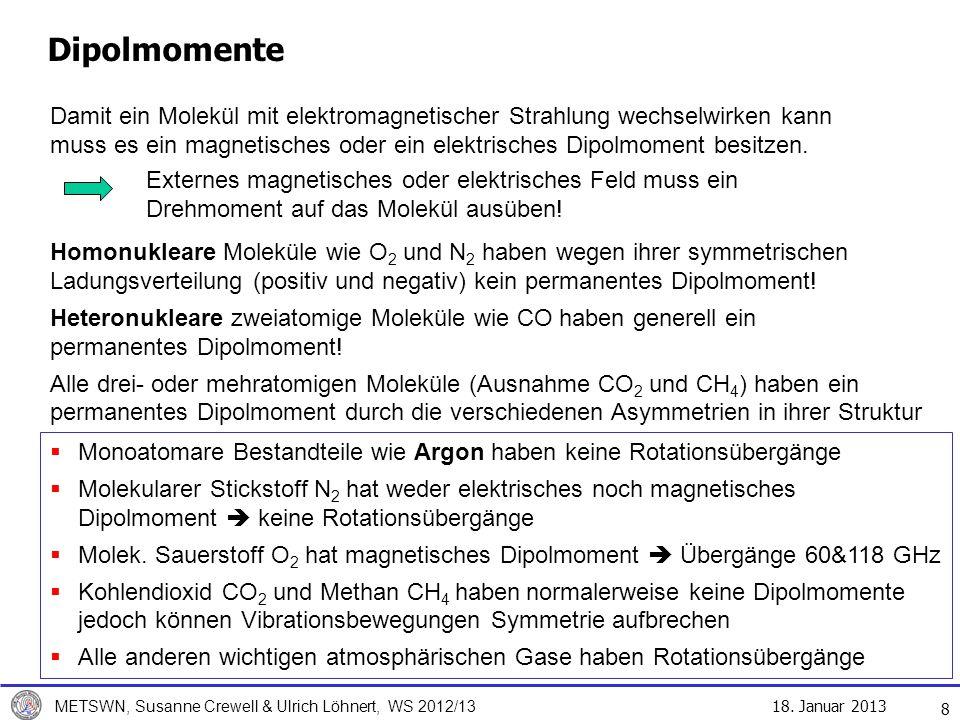 18. Januar 2013 METSWN, Susanne Crewell & Ulrich Löhnert, WS 2012/13 8 Dipolmomente Damit ein Molekül mit elektromagnetischer Strahlung wechselwirken
