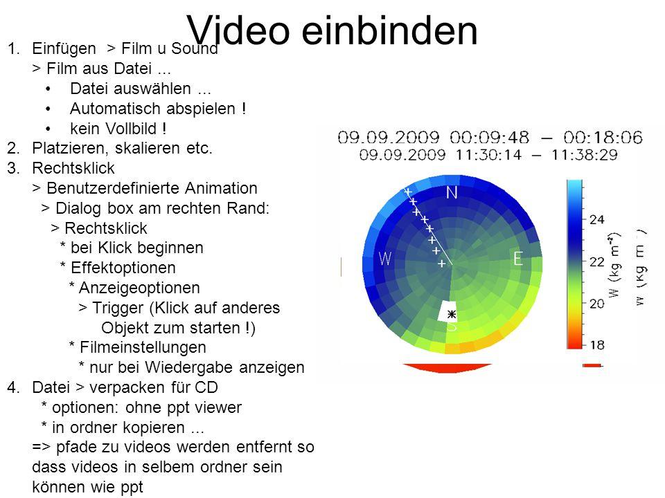 Video einbinden 1.Einfügen > Film u Sound > Film aus Datei...